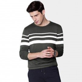 Qzhihe Three-Stripes Round-Neck Green Knit (HMM5053)