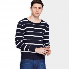 Qzhihe Three-Stripes Round-Neck Navy Knit (HMM5056)