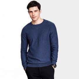 Qzhihe Round Neck Solid Navy Knit (HMM5071)