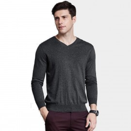 Qzhihe Light V-Neck Line Black Knit (HMM5073)