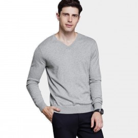 Qzhihe Light V-Neck Line Grey Knit (HMM5073)