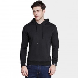 Qzhihe Drawstrings Hooded Black Sweater (HMW3283)