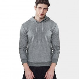 Qzhihe Drawstrings Hooded Grey Sweater (HMW3283)