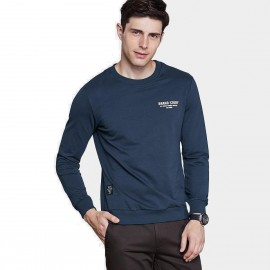 Qzhihe Round Neck Brand Story Navy Sweater (HMW3285)