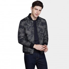 Qzhihe Abstract Patterned Zipper Black Jacket (HMW3299)