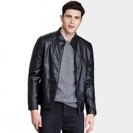 Qzhihe High Collar Faux Black Leather Jacket (HMW3572)