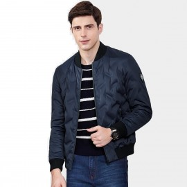 Qzhihe Patterned Zipper Pocket Stretchy Cuffs Navy Down Jacket (HMY3576)