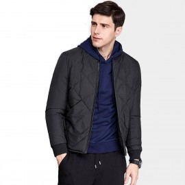 Qzhihe Square Patterned Low Collar Black Down Jacket (HMY3581)