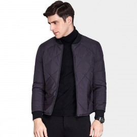 Qzhihe Square Patterned Low Collar Purple Down Jacket (HMY3581)