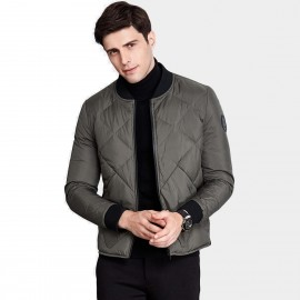 Qzhihe Square Patterned Low Collar Green Down Jacket (HMY3581)