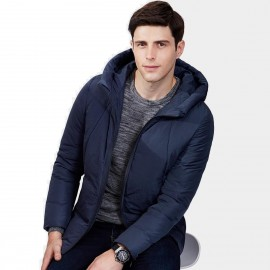 Qzhihe Hoodie Style Zipper Cuffs Navy Down Jacket (HMY3589)