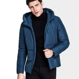 Qzhihe Hoodie Style Zipper Cuffs Blue Down Jacket (HMY3589)