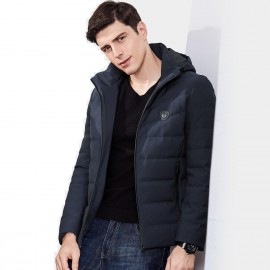 Qzhihe High Collar Hooded Zipper Puffy Navy Down Jacket (HMY3591)