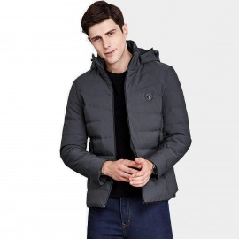 Qzhihe High Collar Hooded Zipper Puffy Charcoal Down Jacket (HMY3591)