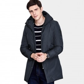 Qzhihe Long Hooded Navy Down Jacket (HMY3596)