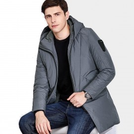 Qzhihe Long Hooded Grey Down Jacket (HMY3596)