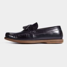 Herilios Brown Soles Boat Style Smooth Black Loafers (H7105D14)