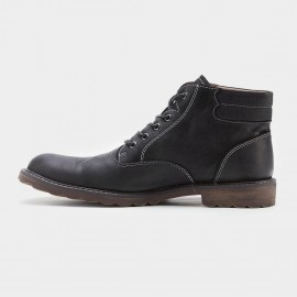 Herilios Plain Toe With Stitching Working Style Black Boots (H7305G08)