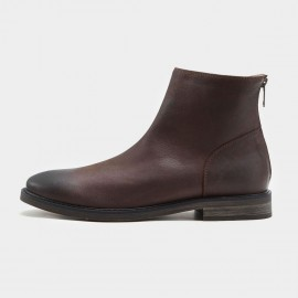 Herilios Low Chelsea Zipper Brown Boots (H7305G21)
