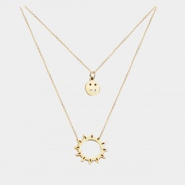 Caromay Double Layers Smiley Sun Gold Necklace (X1650)