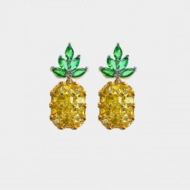 Caromay Pineapple Champagne Gold Earrings (E2199)