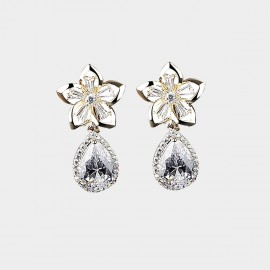 Caromay Crystal May Flower Champagne Gold Earrings (E2151)
