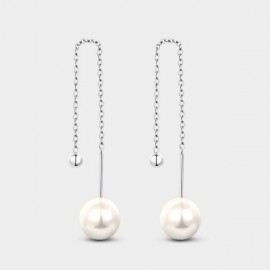 SEVENTY 6 Smooth Circle White Earrings (2979)