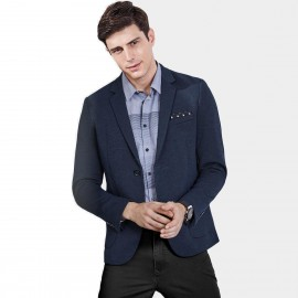 Qzhihe Pin-Decorated Two Button Blue Blazer (HMX3373)