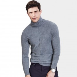 Qzhihe Slim Fit Square Patterned Turtle Neck Grey Blue Knit (HMM5037)