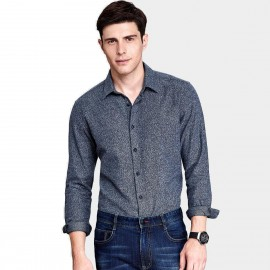 Qzhihe Button Down Patterned Grey Blue Shirt (HMC1370)