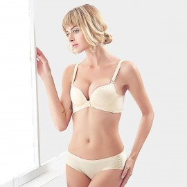 Olanfen Contrasting Straps And Pendent & Invisible Underwear Nude Set (T6050)
