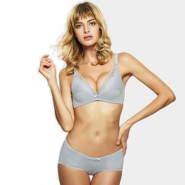 Olanfen Patterned Lace Layer See Through Push Up Bra & Boxer Cutting Underwear Grey Set (T6055)
