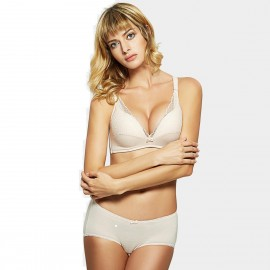 Olanfen Patterned Lace Layer See Through Push Up Bra & Boxer Cutting Underwear Nude Set (T6055)