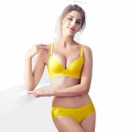 Olanfen Basic High Side Wings Wireless Push Up Bra & Invisible Underwear Yellow Set (T6059)