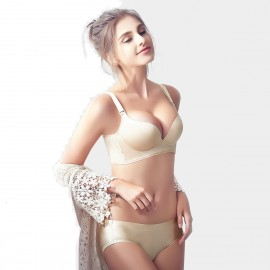 Olanfen Blossoming Lilies Graphic Print Push Up Bra & Underwear Nude Set (T6087)