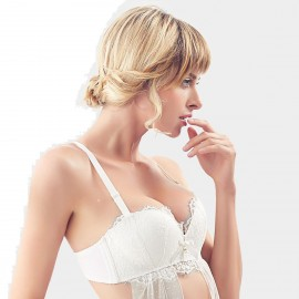 Olanfen Lace Halter Neck Detachable Strap Ribbon Push Up White Bra (W6133)