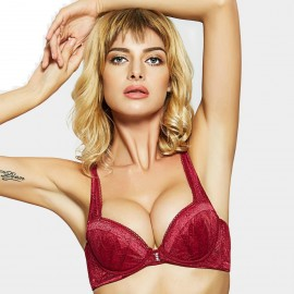 Olanfen Racerback Patterned Lace Wings Front Closure Push Up Wine Bra (W6139)