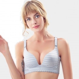 Olanfen Hollow Pattern Striped Molded Seamless Push Up Silver Bra (W6150)