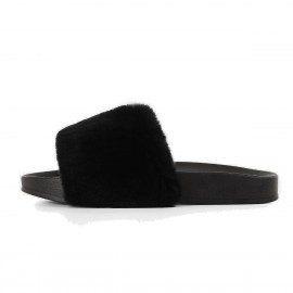 Superelephant Furry Black Slippers (AKDA2602)