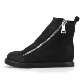 Superelephant Diagonal Zipper Black Boots (ZF1839L)