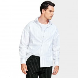 Basique Loose-Fit Button-Down Verticle White Stripe Collar Shirt (03.0127)