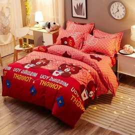 Aix Bear In Love Red Bed Linen (LJ17082)