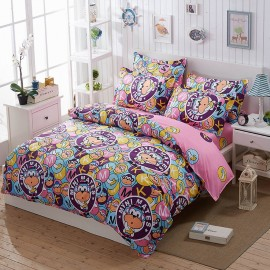 Aix Monkey Cartoon Purple Bed Linen (LJ17085)