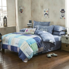 Aix Colourful Checks Blue Bed Linen (LJ17086)