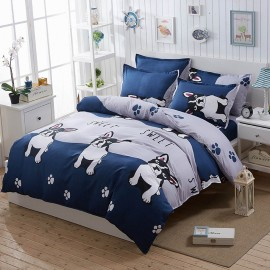 Aix Dog And Paws Blue Bed Linen (LJ17087)