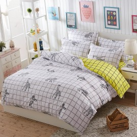 Aix Geometric Animal Checked White Bed Linen (LJ17090)