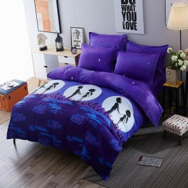Aix Romantic Night Cartoon Purple Bed Linen (LJ17093)