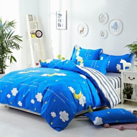 Aix Moon And Clouds Blue Bed Linen (LJ17095)
