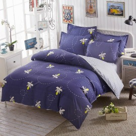 Aix Bee Print Navy Bed Linen (LJ17100)