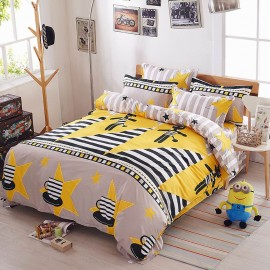 Aix Cartoon Striped Yellow Bed Linen (LJ17104)